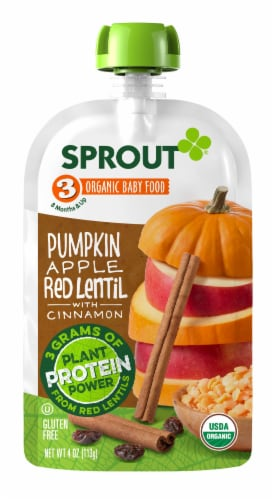 Sprout Organic Pumpkin Apple Red Lentil & Cinnamon Stage 3 Baby Food Perspective: left
