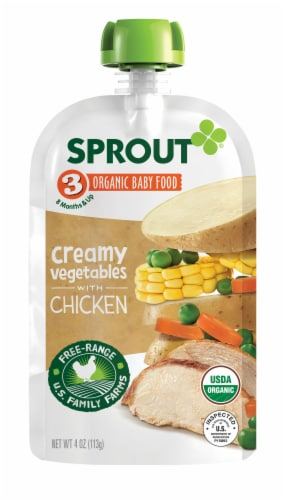 Sprout Organic Creamy Vegetables with Chicken Stage 3 Baby Food Perspective: left