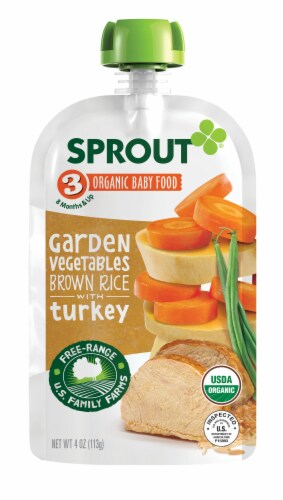 Sprout Organic Garden Vegetables Brown Rice Turkey Stage 3 Baby Food Perspective: left