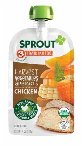 Sprout Organic Harvest Vegetables Apricot & Chicken Stage 3 Baby Food Perspective: left