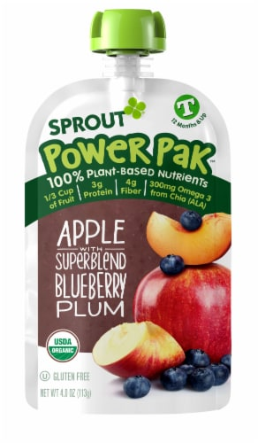 Sprout Power Pak Apple SuperBlend Blueberry Plum Stage T Baby Food Perspective: left