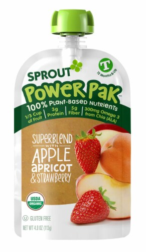 Sprout Power Pak Superblend Apple Apricot Strawberry Stage T Baby Food Perspective: left