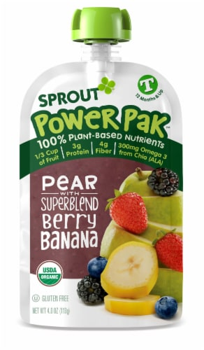 Sprout Power Pak Organic Pear with Superblend Berry Banana Stage T Baby Food Perspective: left