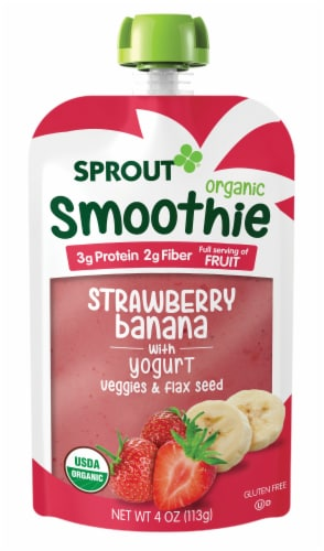 Sprout Organic Strawberry Banana Smoothie Toddler Food Perspective: left
