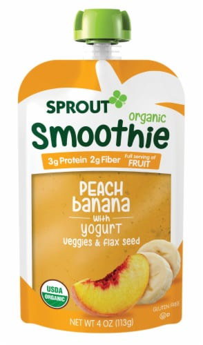 Sprout Organic Smoothie Peach Banana with Yogurt Veggies & Flax Seed Baby Food Perspective: left