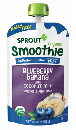Sprout Organic Stage 2 Blueberry Banana with Coconut Milk Veggies & Flax Seed Smoothies Perspective: left