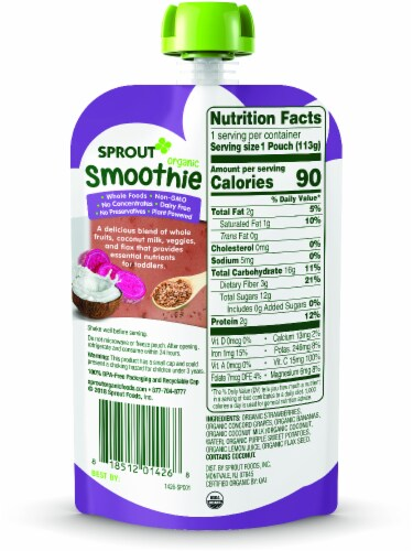 Sprout Organic Smoothie Berry Grape with Coconut Milk Veggies & Flax Seed Baby Food Perspective: left
