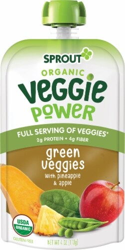 Sprout Organic Veggie Power Green Veggies with Pineapple & Apple Baby Food Perspective: left