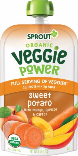 Sprout Organic Veggie Power Sweet Potato with Mango, Apricot & Carrot Baby Food Perspective: left