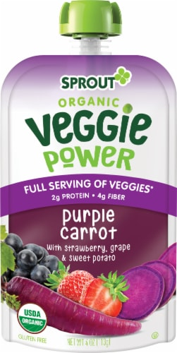 Sprout Organic Veggie Power Purple Carrot with Strawberry, Grape & Sweet Potato Baby Food Perspective: left