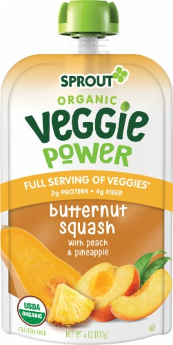 Sprout Organic Veggie Power Butternut Squash with Peach & Pineapple Baby Food Perspective: left