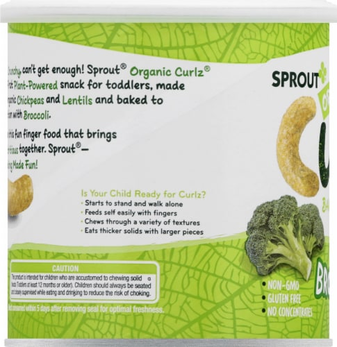 Sprout Organic Curlz Broccoli Baked Toddler Snacks Perspective: left