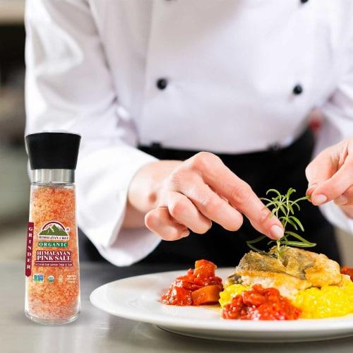 Himalayan Chef Organic Lemon Peel & Pink Himalayan Salt, Refillable Glass Grinder-12.5Oz Perspective: left