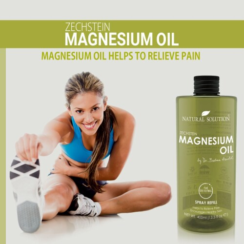 Natural Solution Magnesium Oil, Pure Genuine Zechstein Magnesium, Ultra-Pure Oil | 13.5 Oz Perspective: left