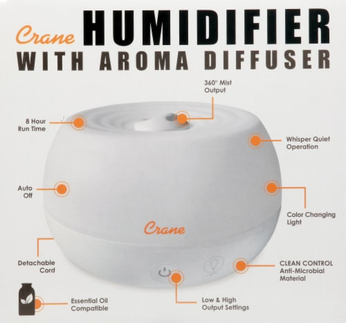 Crane Ultrasonic Cool Mist Personal Humidifier & Diffuser - White Perspective: left