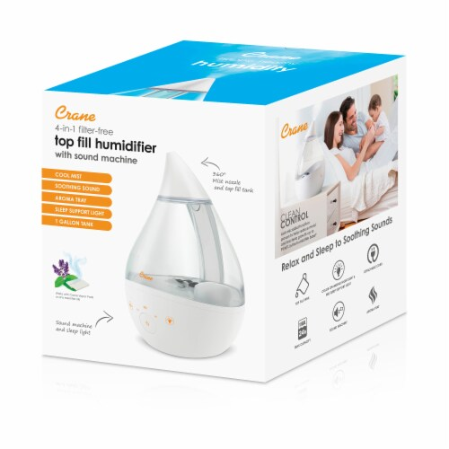 Crane Top Fill Drop Cool Mist Humidifier - Clear/White Perspective: left