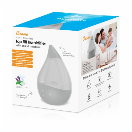 Crane 4-in-1 Filter-Free Top Fill Humidifier with Sound Machine - Gray Perspective: left