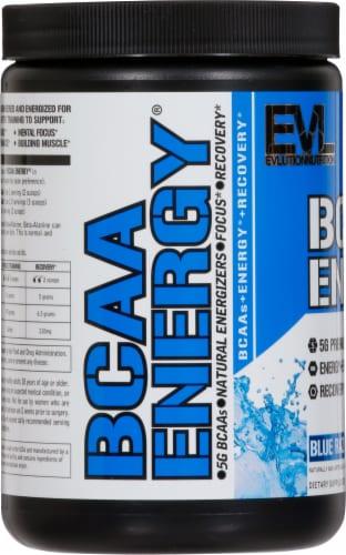 Evlution Nutrition BCAA Energy Blue Raz Flavor Dietary Supplement Powder Perspective: left