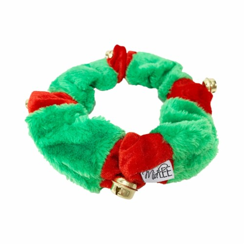 Midlee Red/Green Christmas Plush Bell Collar (Small) Perspective: left