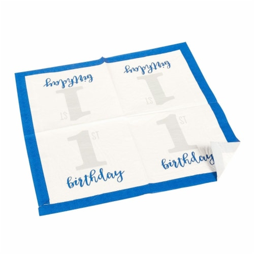 Baby Boy's 1st Birthday Party Dinnerware Supplies, Serves 24 Guests (144 Pieces) Perspective: left