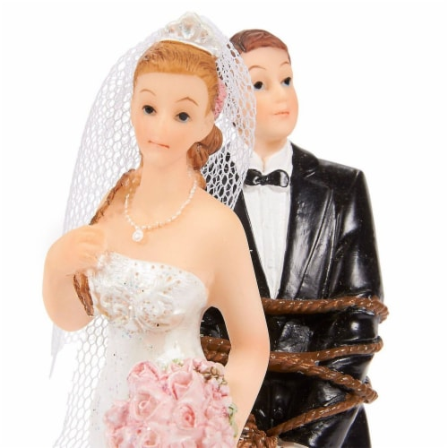Juvale Fun Wedding Couple Figures Decorations Cake Topper - Bride Tied up Groom Figurines Perspective: left