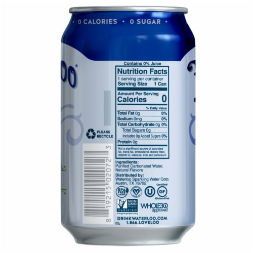 Waterloo Blueberry Sparkling Water 8 Count Perspective: left