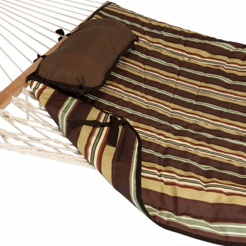 Sunnydaze Polyester Quilted Hammock Pad and Pillow Only Set - Desert Stripe Perspective: left