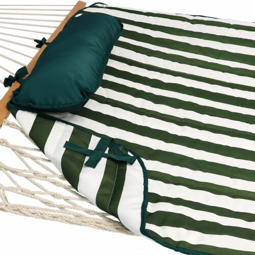 Sunnydaze Polyester Quilted Hammock Pad and Pillow Only Set - Green-White Stripe Perspective: left
