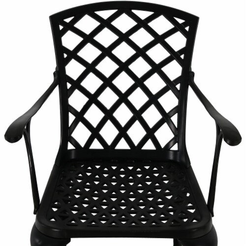 Sunnydaze Patio Table and 4 Chairs Set - Cast Aluminum with Crossweave Design Perspective: left