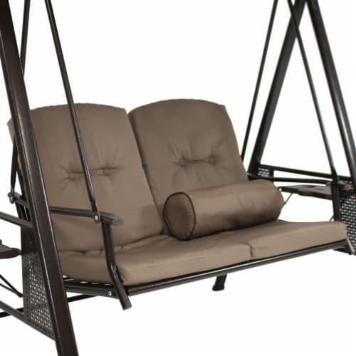 Sunnydaze 2-Person Outdoor Adjustable Tilt Canopy Patio Loveseat Swing - Beige Perspective: left