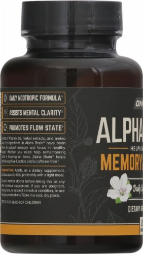Onnit Alpha Brain Memory and Focus Daily Cognitive Support Dietary Supplement Perspective: left