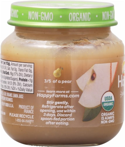 Happy Baby Organics Pears Stage 1 Baby Food Perspective: left