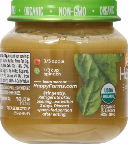 Happy Baby® Organics Stage 2 Apples & Spinach  Baby Food Perspective: left