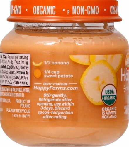 Happy Baby® Organics Stage 2 Bananas & Sweet Potatoes Baby Food Perspective: left