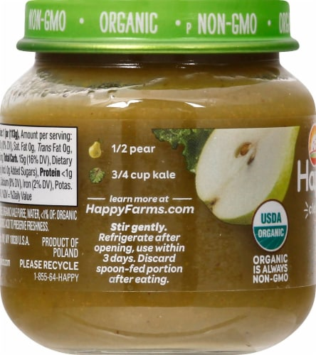Happy Baby Organic Pears & Kale Stage 2 Baby Food Perspective: left