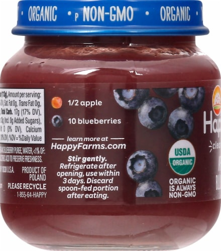 Happy Baby Organics Apples & Blueberries Stage 2 Baby Food Perspective: left
