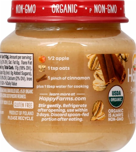 Happy Baby Organics Apples Oats & Cinnamon Stage 2 Baby Food Perspective: left