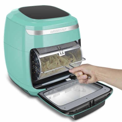 GoWISE USA 11.6-Quart Air Fryer Toaster Oven, Vibe, Mint/Silver Perspective: left