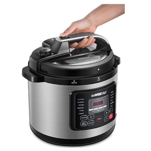 GoWISE USA 6-Quart 12-in-1 Multi-Use Programmable Pressure Cooker, Stainless Steel Perspective: left