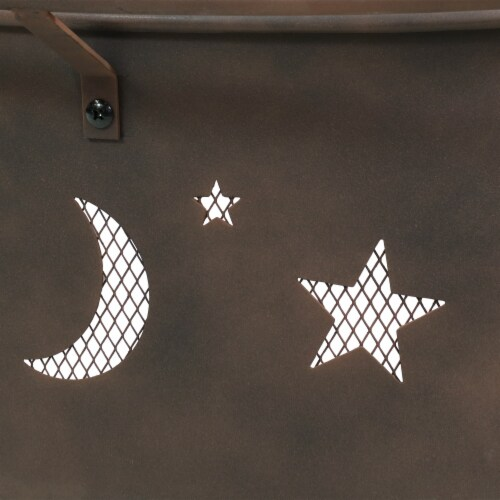 """Sunnydaze 30"""" Fire Pit Steel Cosmic Design with Cooking Grill and Spark Screen Perspective: left"""