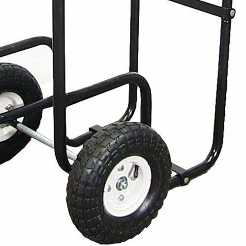 Sunnydaze Log Cart Steel Heavy-Duty Rolling Wheeled Firewood Carrier Dolly Perspective: left