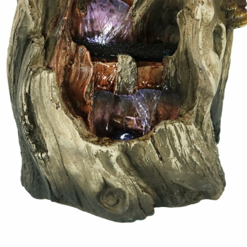 """Sunnydaze Cascading Caves Waterfall Water Tabletop Fountain Feature w/ LED - 14"""" Perspective: left"""