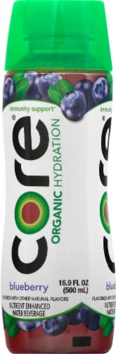 Core Organic Hydration Blueberry Nutrient Enhanced Water Beverage Perspective: left