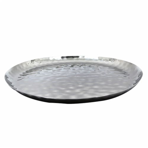 """Full Polished Stainless Steel 14"""" Round Service Tray Perspective: left"""