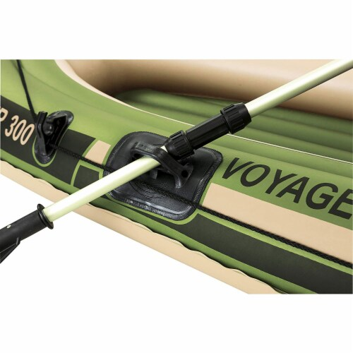"""Bestway Hydro Force Voyager 300 96"""" Inflatable River Boat w/ Aluminum Raft Oars Perspective: left"""