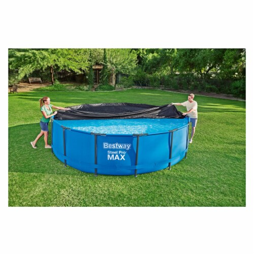 Flowclear 15 Foot Round Steel Pro MAXTM Above Ground Swimming Pool Cover, Black Perspective: left