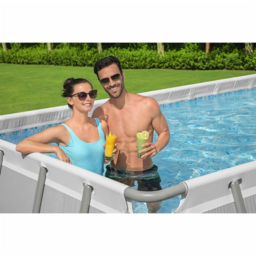 Bestway 21 Ft x 9 Ft x 52 In Power Steel Frame Above Ground Swimming Pool Set Perspective: left