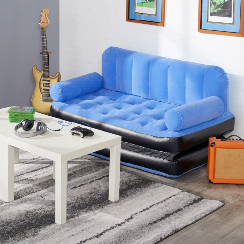 Bestway Multi Max Inflatable Air Couch or Double Bed with AC Air Pump, Blue Perspective: left