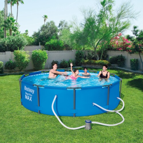 """Bestway 10' x 30"""" Steel Pro Frame Max Round Above Ground Swimming Pool with Pump Perspective: left"""