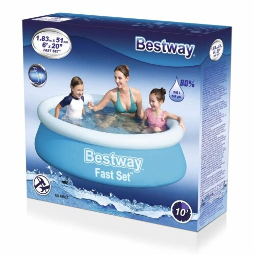 Bestway Fast Set 6 Foot x 20 Inch Outdoor Inflatable Round Swimming Pool Set Perspective: left